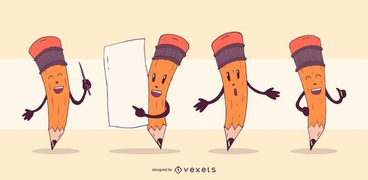 Pencil characters cartoon set