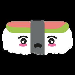 Comida de nigiri sushi de cara de kawaii decepcionado