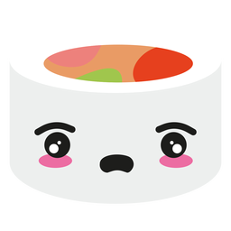Disappointed kawaii face sushi roll food