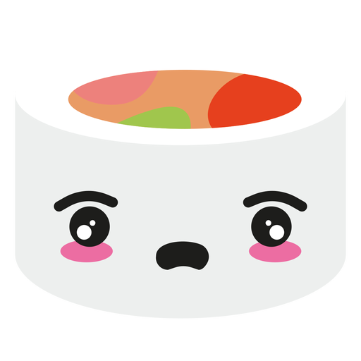 Disappointed kawaii face sushi roll food Transparent PNG