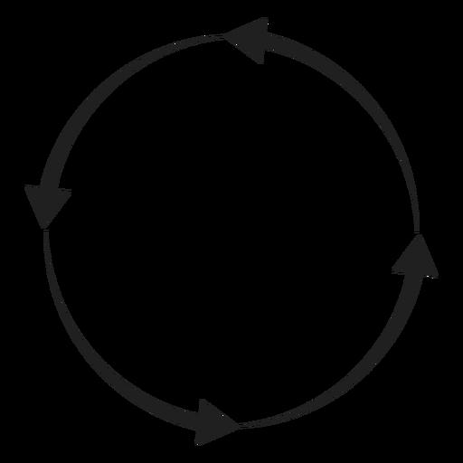 Four arrows circle circle element