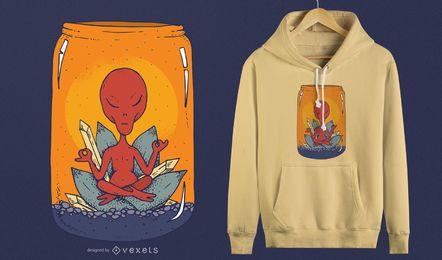 Diseño de camiseta de meditación alienígena.