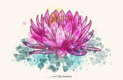 Pintura de acuarela de loto