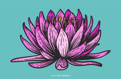 Diseño de dibujos animados de flor de loto