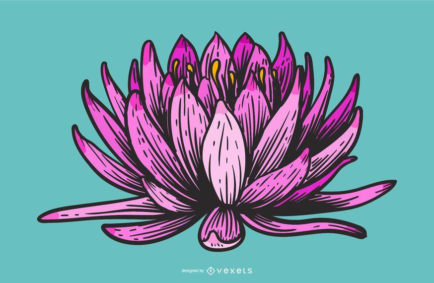 Lotus-Blumen-Karikaturdesign