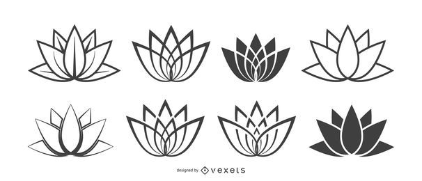 Conjunto de ícones de flor de lótus