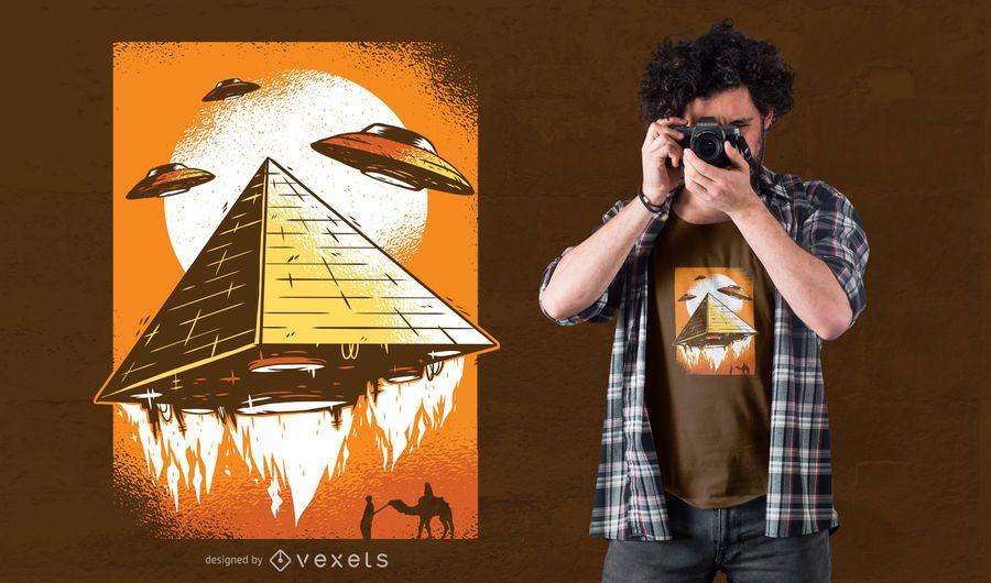 Projeto do t-shirt da ufo da pirâmide