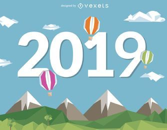 2019 Neujahr mit Heißluftballons