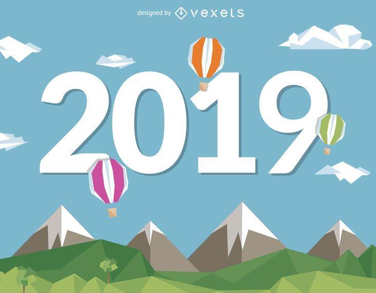 2019 Ano Novo com balões de ar quente