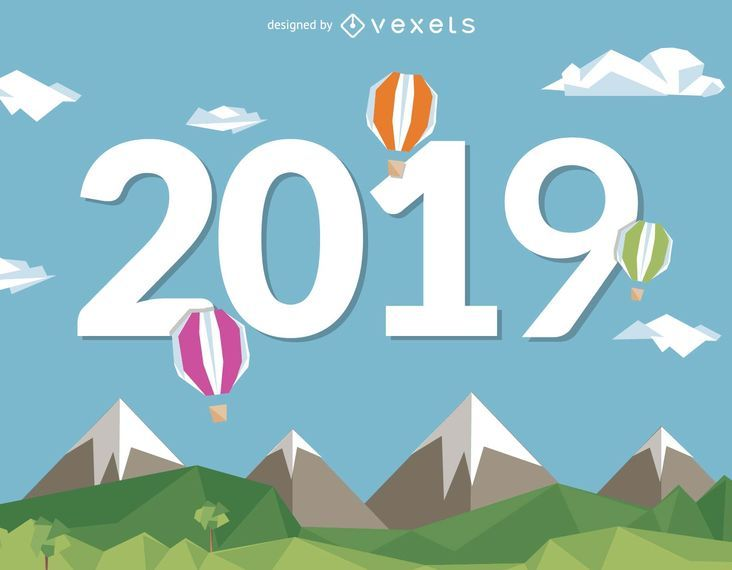Neues Jahr 2019 mit Heißluftballons
