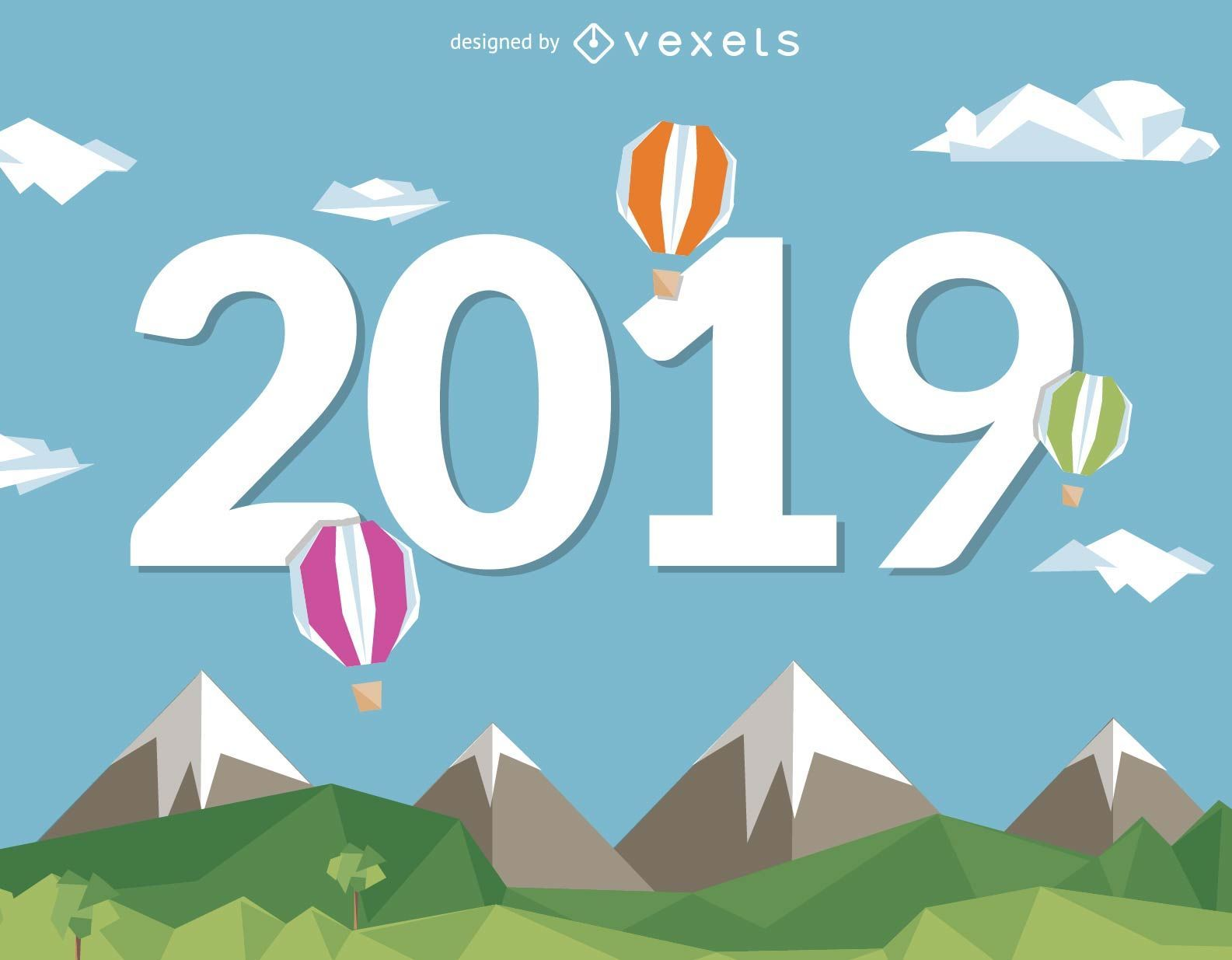2019 New Year with hot air balloons
