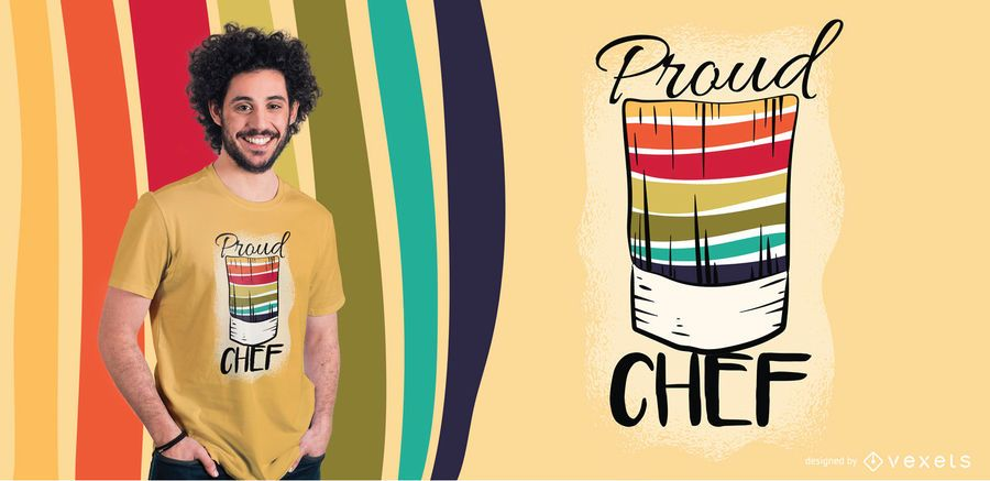 Diseño orgulloso de la camiseta del arco iris del chef