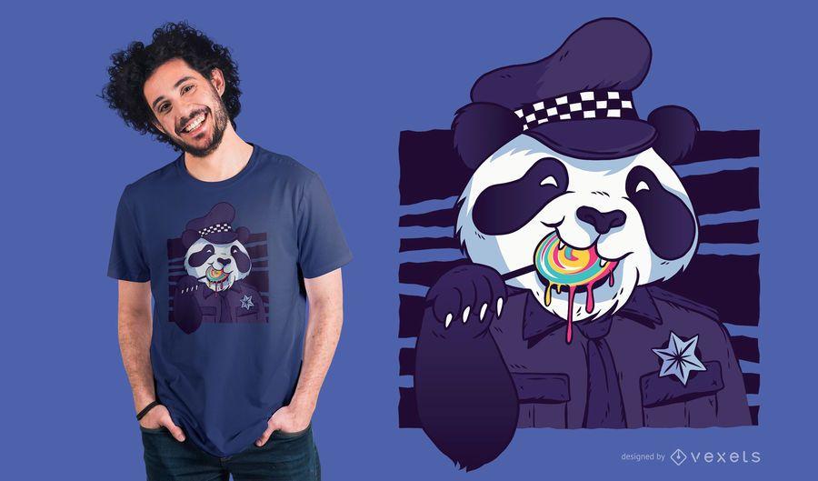 Projeto do t-shirt da panda do polícia