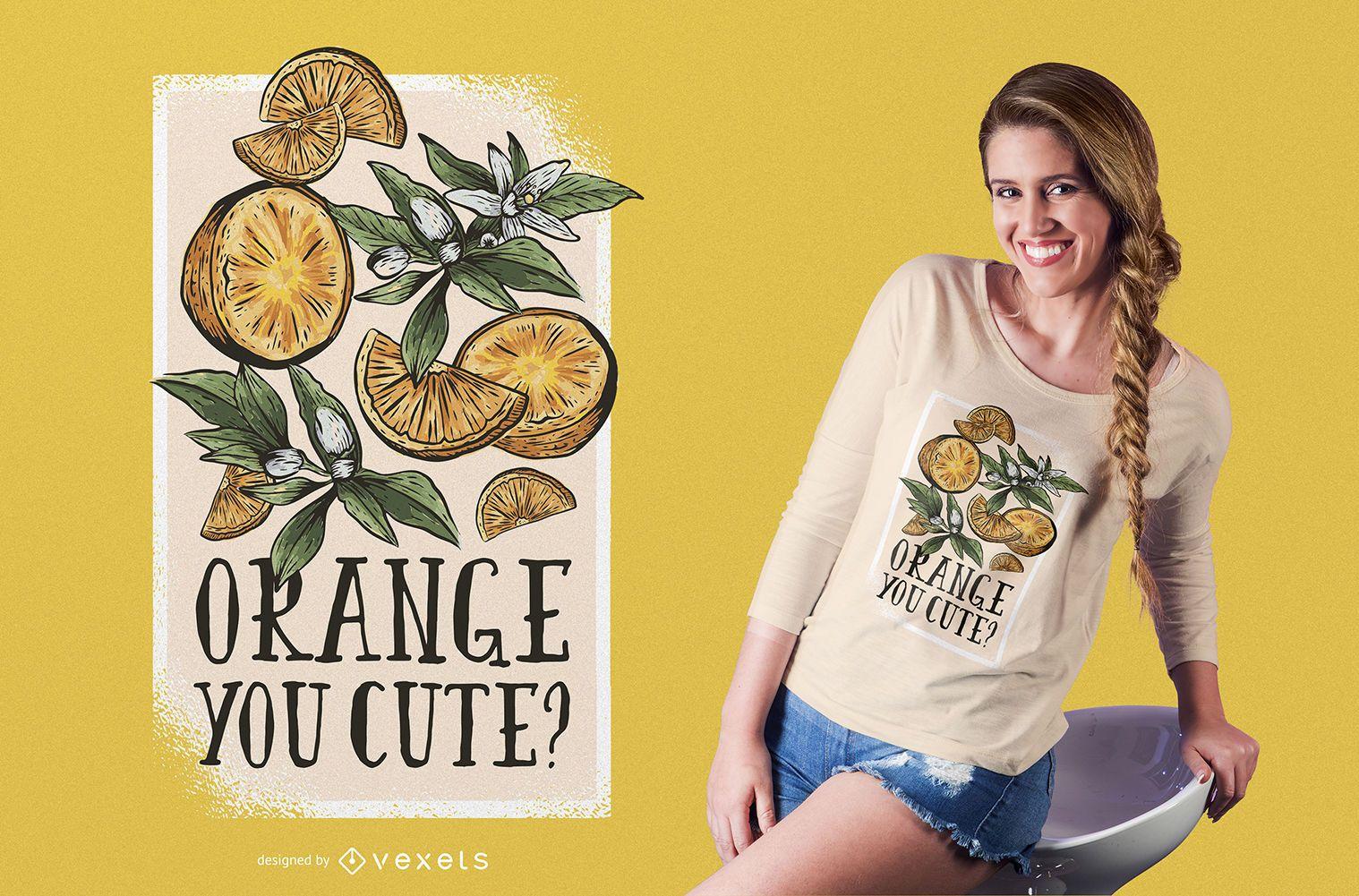 Naranja lindo diseño de camiseta.