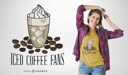 Diseño de camiseta de fanáticos de café helado