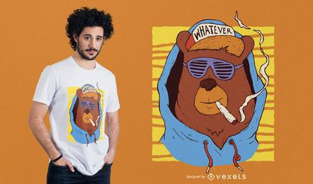 Projeto do t-shirt do urso do hip-hop