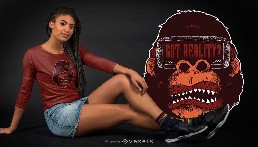 Diseño de camiseta gorilla reality.