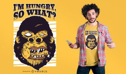 Diseño de camiseta gorila hambriento.