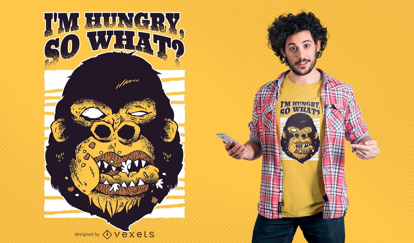 Gorila hambrienta camiseta de diseño. Descargar imagen grande 1700x1000px.  license image  user 270e0c322a799