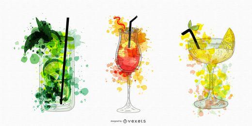 Cócteles bebidas acuarelas ilustraciones.
