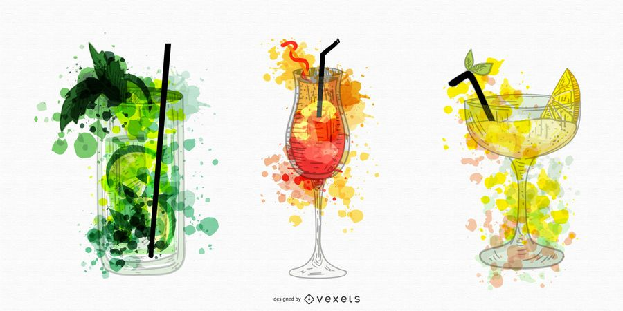Cocktail drinks watercolor illustrations