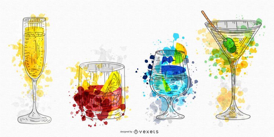 Alkoholische Getränke Aquarell Set
