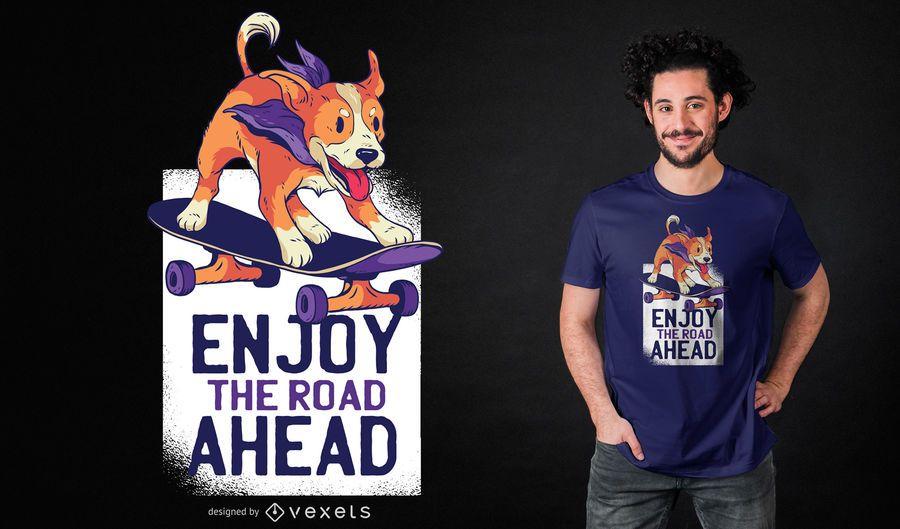 Diseño de camiseta perro skate.