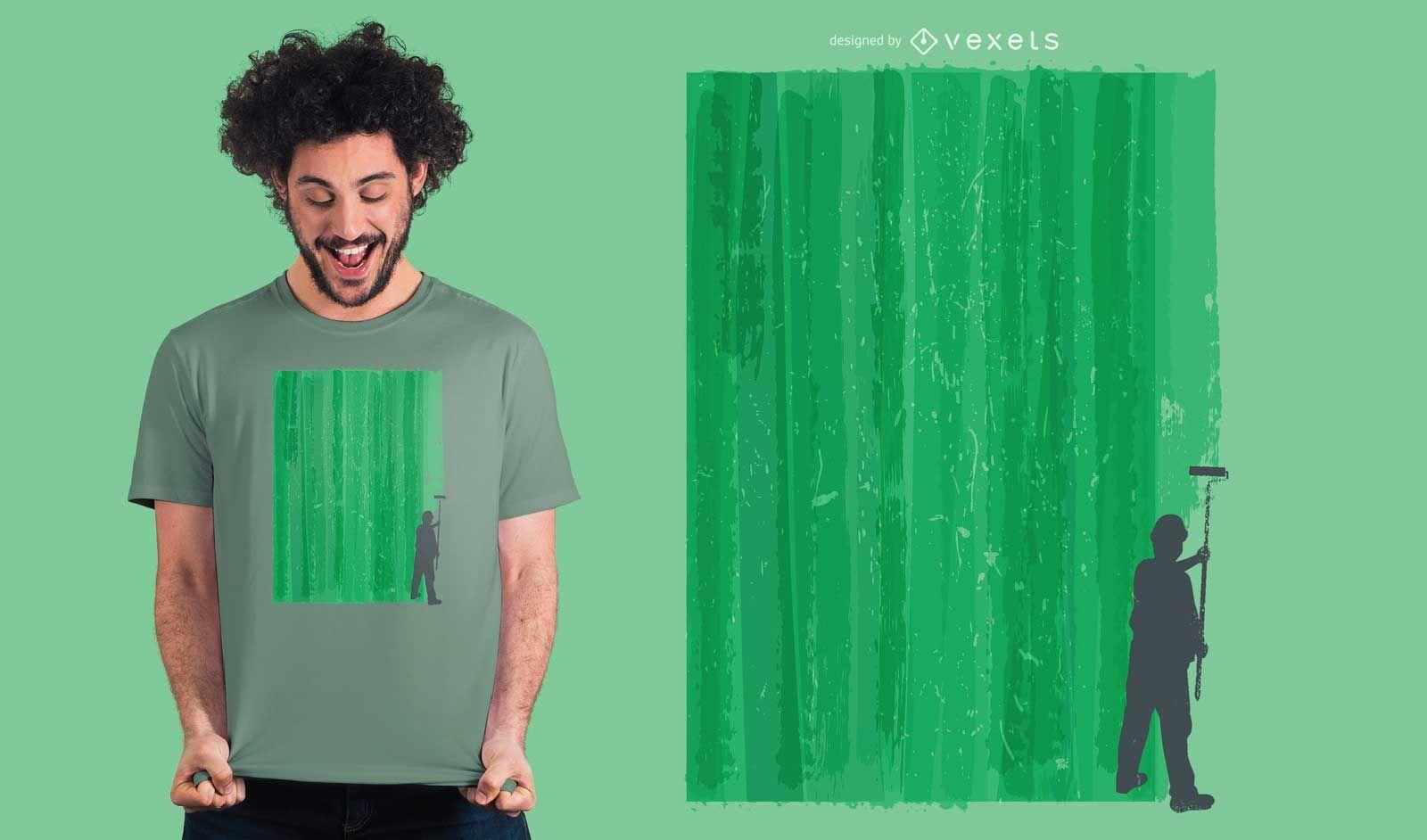 Worker painting t-shirt design