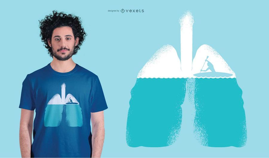 Lungs boat rowing t-shirt design