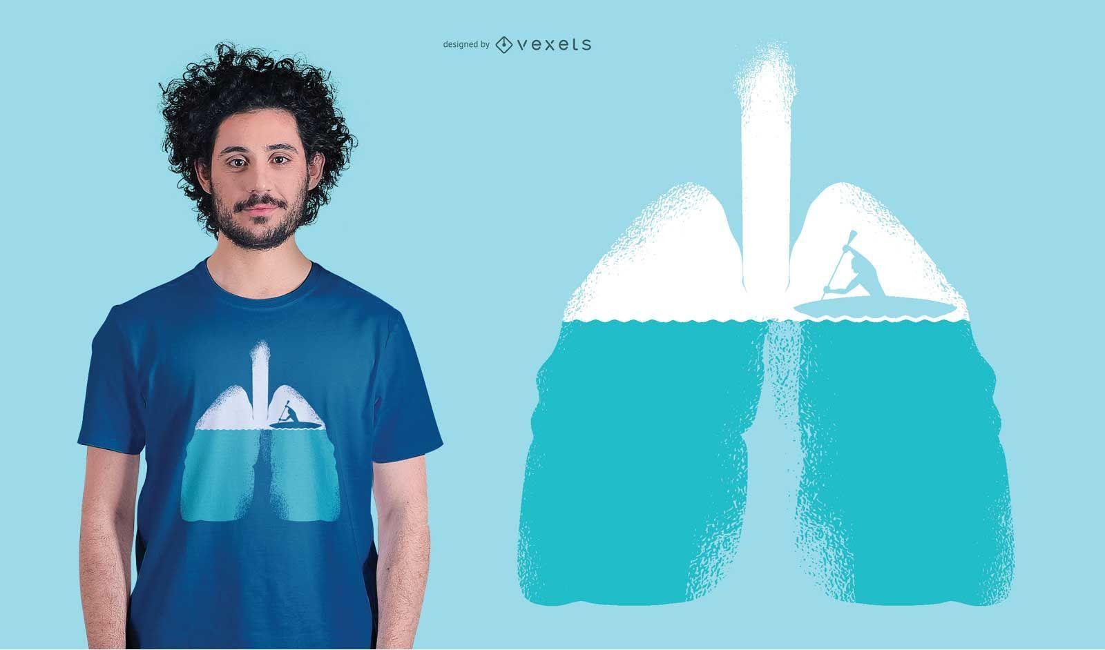 Diseño de camiseta de remo de bote de pulmones.