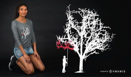 Diseño de camiseta de pintura de árbol.