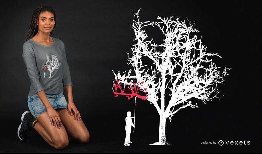 Design de t-shirt de pintura de árvore