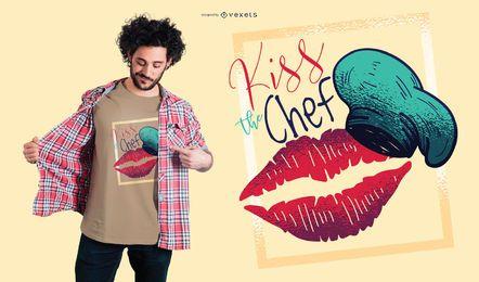 Beije o design do t-shirt do cozinheiro chefe