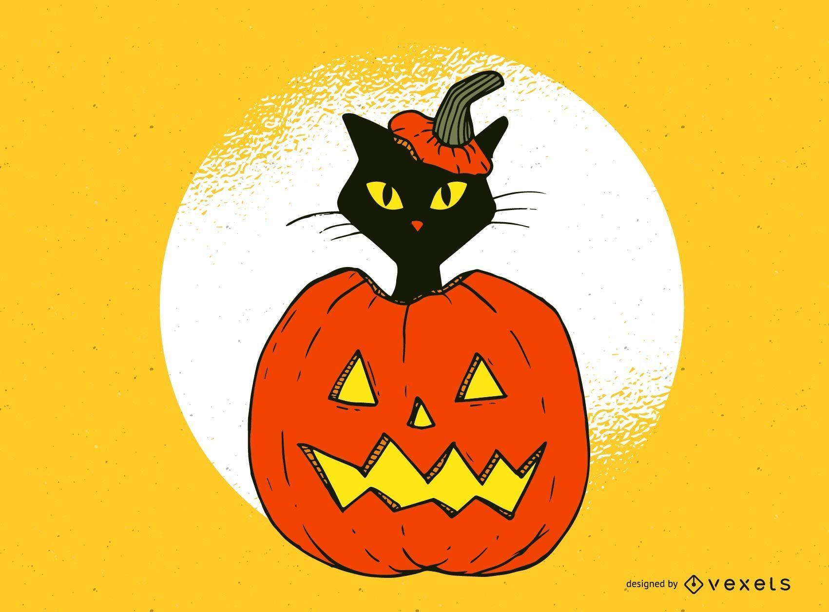 Gato con diseño de jack-o-lantern