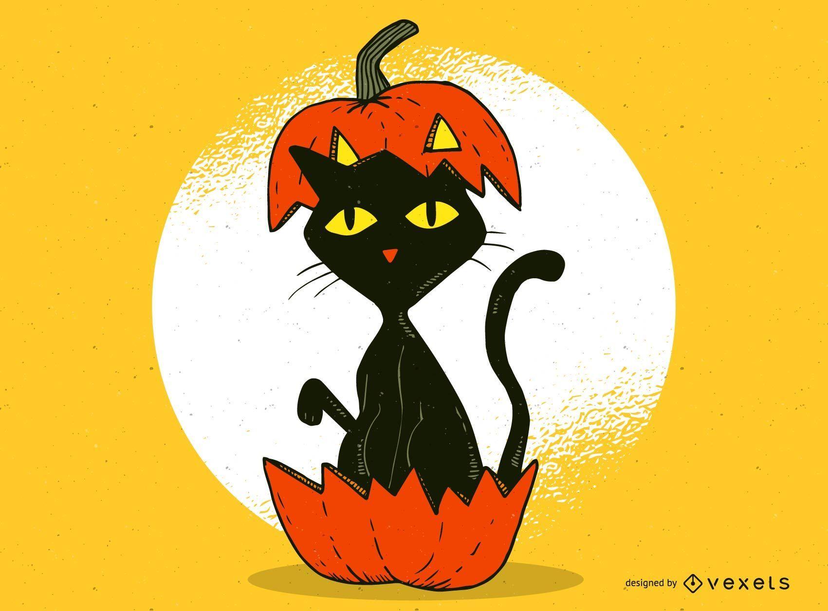 Gato en calabaza dise?o de Halloween