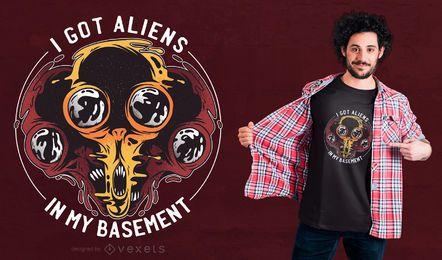 Diseño de camiseta extraterrestre en sótano.