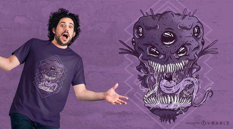 Ausländischer Monsterkopf T-Shirt Entwurf