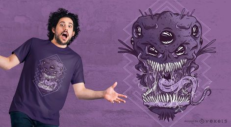 Projeto estrangeiro do t-shirt da cabeça do monstro