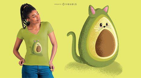 Diseño de camiseta de gato aguacate