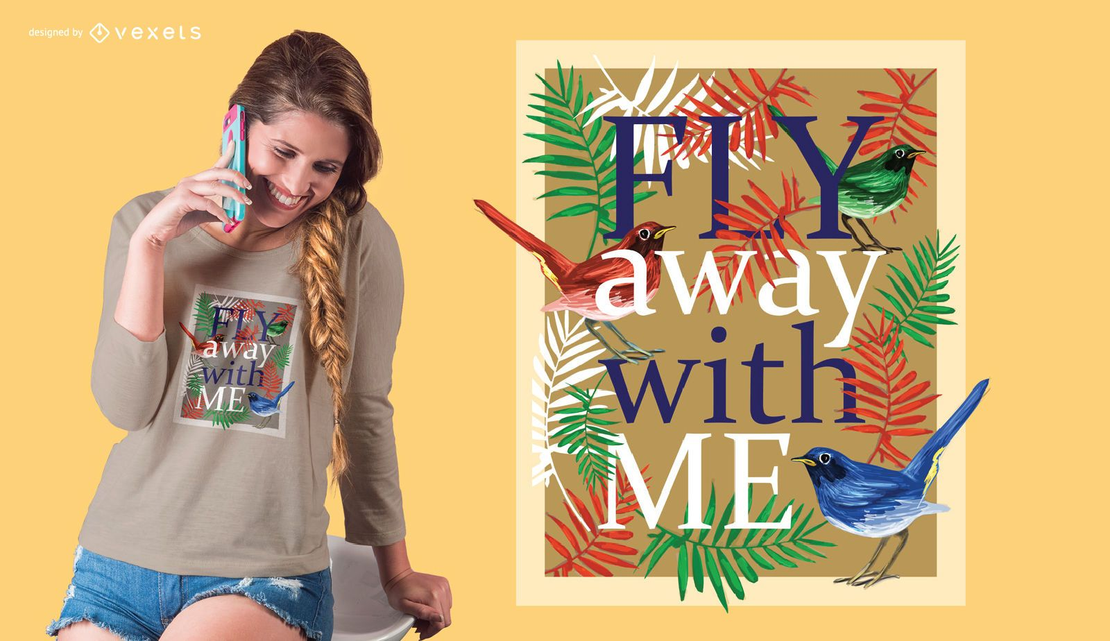 Fly away bird t-shirt design