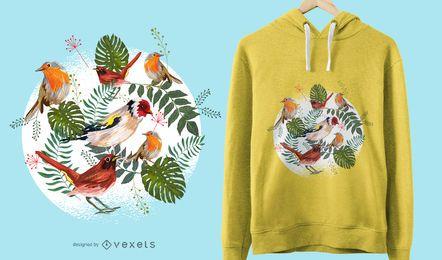 Diseño de camiseta de pájaros tropicales.