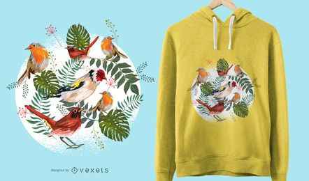 Projeto tropical do t-shirt dos pássaros