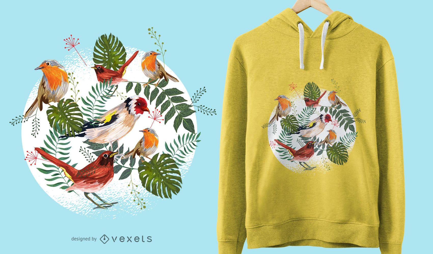 Design de camisetas de pássaros tropicais