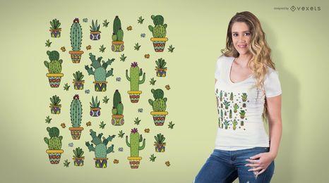 Design de t-shirt de padrão de cacto