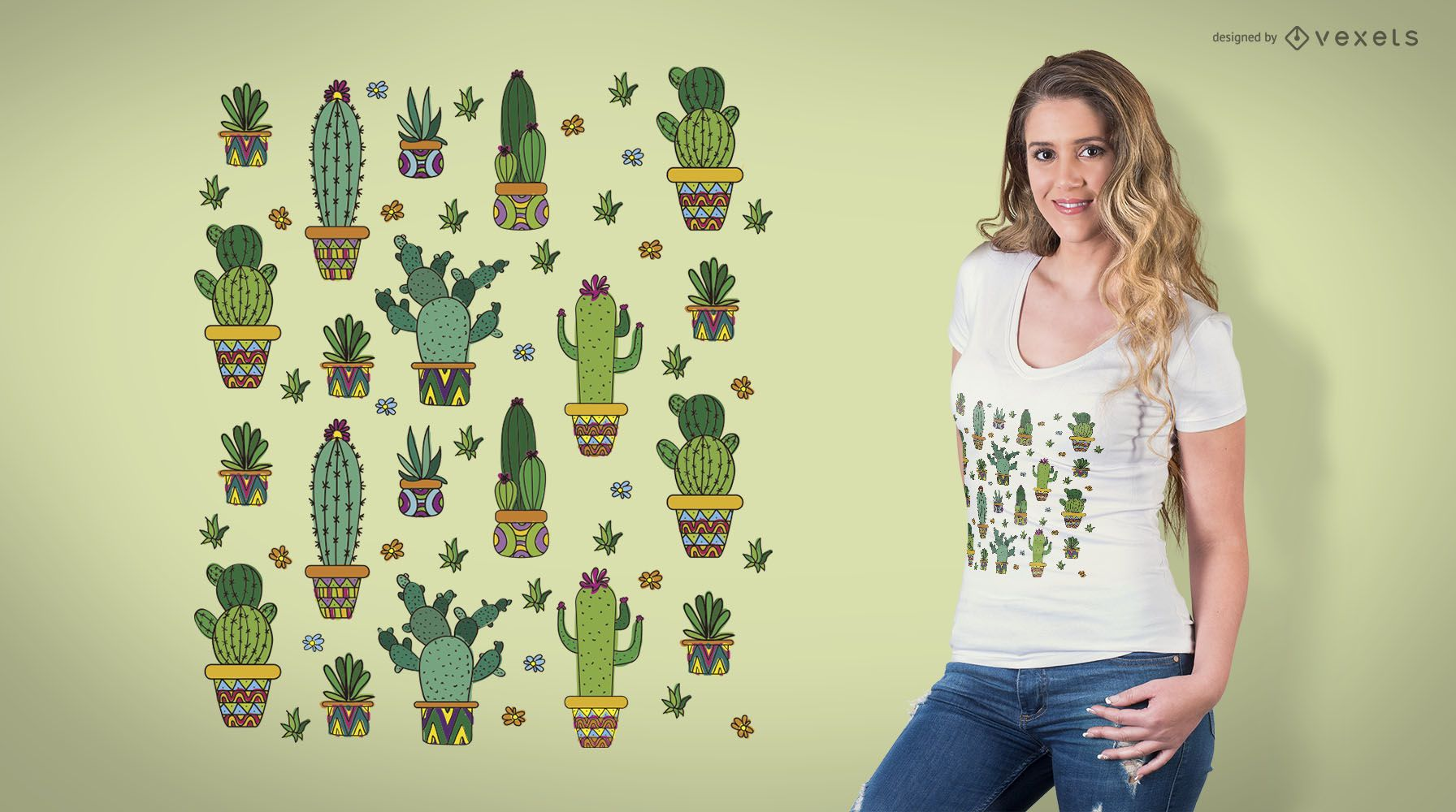 Cactus pattern t-shirt design