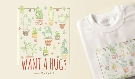 Diseño de camiseta cactus abrazo.
