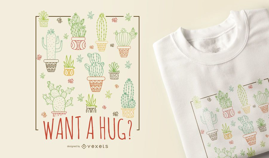Diseño de camiseta cactus hug.