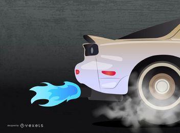 Diseño de quemado en llamas de coche