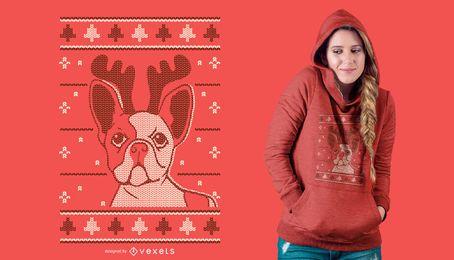 Diseño de camiseta perro navidad.