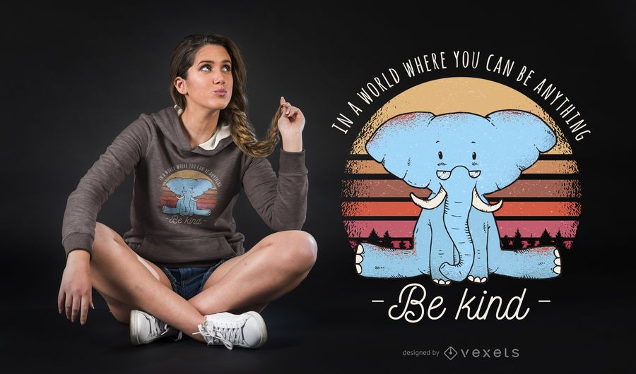Be kind diseño de camiseta elefante